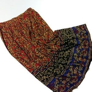 VTG 90's Red & Blue Braided Paisley Pleated Maxi